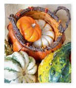 Autumn Basketful Fleece Blanket