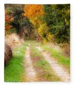 Autumn Beauty On Rural Dirt Road Fleece Blanket
