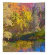 Autumn Beside The Pond Fleece Blanket