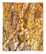 Autumn Birch Leaves Fleece Blanket