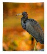 Autumn Blue Heron Fleece Blanket