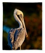 Autumn Brown Pelican Fleece Blanket