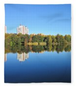 Autumn By The Triangle Lake In Stockholm Fleece Blanket