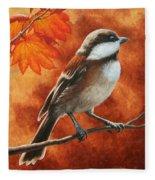 Autumn Chickadee Fleece Blanket