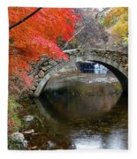 Autumn Color And Old Stone Arched Fleece Blanket