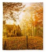 Autumn Cottage Fleece Blanket