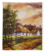 Autumn Cottages Fleece Blanket