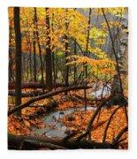 Autumn Creek In The Rain Fleece Blanket