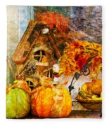 Autumn Display - Pumpkins On A Porch Fleece Blanket