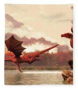 Autumn Dragons Fleece Blanket