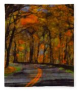 Autumn Drive Freedom And Beauty Fleece Blanket