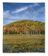 Serene Pond Vermont Autumn Panorama Fleece Blanket