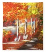Autumn Falling Leaves  Fleece Blanket