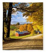 Autumn Farm In Vermont Fleece Blanket