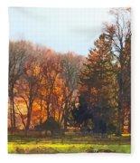 Autumn Farm With Harrow Fleece Blanket