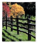 Autumn Fence And Shadows Fleece Blanket