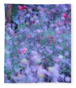 Autumn Flowers In Blue Fleece Blanket