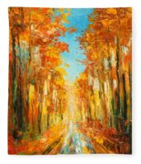 Autumn Forest Impression Fleece Blanket