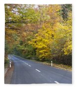 Autumn Forest Road Fleece Blanket