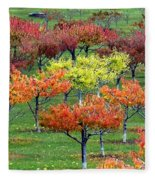 Autumn Hillside Orchard Fleece Blanket
