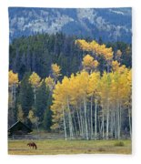 1m9359-autumn In Jackson Hole Ranch Country Fleece Blanket