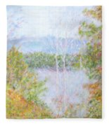 Autumn By The Lake In New Hampshire Fleece Blanket