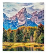 Autumn In The Tetons Fleece Blanket