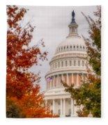 Autumn In The Us Capitol Fleece Blanket