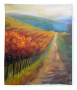 Autumn In The Vineyard Fleece Blanket