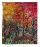 Autumn In The Woods Fleece Blanket