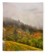 Autumn Just Around The Bend Blue Ridge Parkway In Nc Fleece Blanket