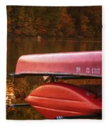 Autumn Kayaks On Newport Lake Fleece Blanket