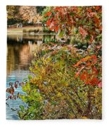 Autumn Lake And Swan Fleece Blanket