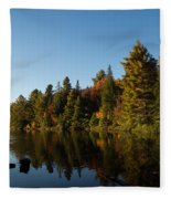 Autumn Lake In The Forest - Reflection Tranquility Fleece Blanket