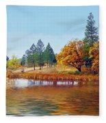 Autumn Lake In The Woods Fleece Blanket