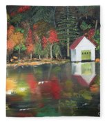 Autumn - Lake - Reflecton Fleece Blanket