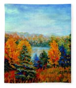 Autumn Landscape Quebec Red Maples And Blue Spruce Trees Fleece Blanket