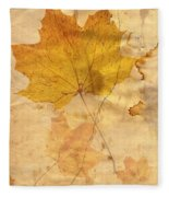 Autumn Leaf In Grunge Style Fleece Blanket