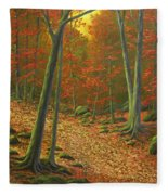Autumn Leaf Litter Fleece Blanket