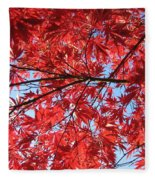 Autumn Leaves And Blue Sky Fleece Blanket