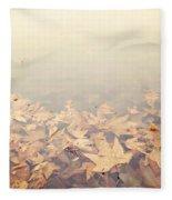 Autumn Leaves Floating In The Fog Fleece Blanket