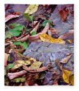 Autumn Leaves In Creek Bed Fleece Blanket