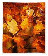 Autumn Leaves Oil Fleece Blanket