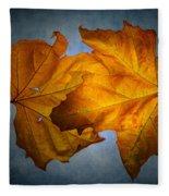 Autumn Leaves On Blue Fleece Blanket