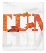 Autumn Letters With Leaves Fleece Blanket