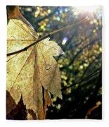 Autumn Light On Leaf Fleece Blanket