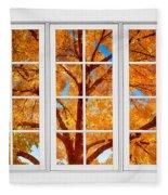 Autumn Maple Tree View Through A White Picture Window Frame Fleece Blanket