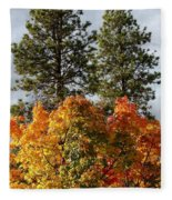 Autumn Maple With Pines Fleece Blanket