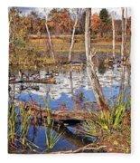Autumn Morning At The Marsh Fleece Blanket