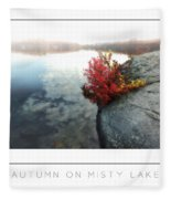 Autumn On Misty Lake Poster Fleece Blanket